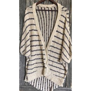FREE PEOPLE Tan Blue Knit Oversized Cardigan